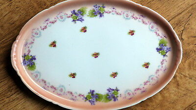 Lovely Old Oval Shape Porcelain Tray/dish With Flowers Violets • 6.99£