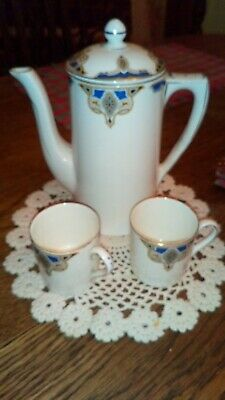 Art Deco Grindley Tunstall Coffee Pot And 2 Cups Beautiful.. White Blue /gold • 15£