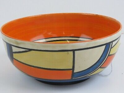 A Clarice Cliff Bizarre Hand Painted Bowl, SWIRLS PATTERN, 19cm Dia • 180£