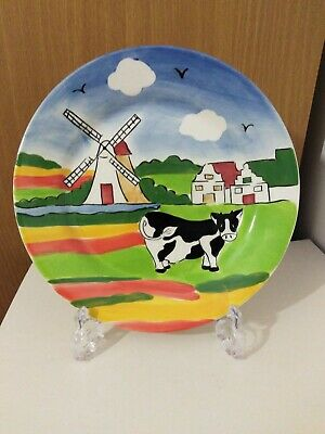 Delft Pottery Holland Hand Painted Cow Windmill Multi Colour Child's Plate, USED • 3£