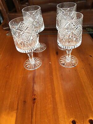 A Beautiful Set Of Four Tyrone Crystal Wine Glasses • 25£