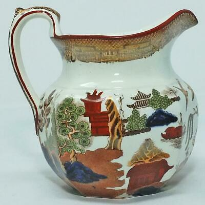 ANTIQUE COLOURED TRANSFER POTTERY LUSTRE WILLOW PATTERN JUG PITCHER C1870 • 10£