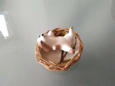 Vintage Szeiler Pottery, 1960's Puppy Dog Laying Down, Playing In Basket. • 2.99£
