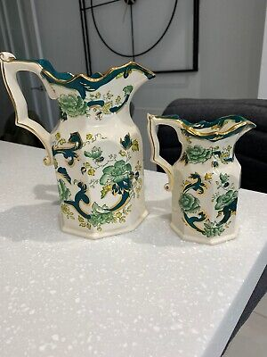 Mason Ironstone Jugs X 2 Green Chartreuse With Fluted Gold Trimmed Rim • 5£