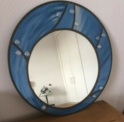 STUDIO ART Handcrafted Round MIRROR Leaded Overlay Stained GLASS • 24.95£