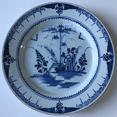 Pair Of English Delft Blue And White Plates C1760 • 49.99£
