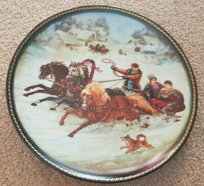 Vintage Russian Porcelain Plate 'A Winter Sleigh Ride' USSR 1990 Collectable  • 4.99£