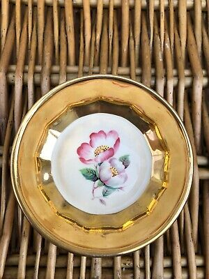 Vintage Prinknash Pottery Gloucester Small Pin Dish  Rings Gilded Flowers • 9.99£