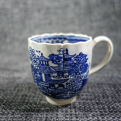 18th C Liverpool? - Antique Porcelain - Coffee Cup Chinoiserie Blue & White • 15£