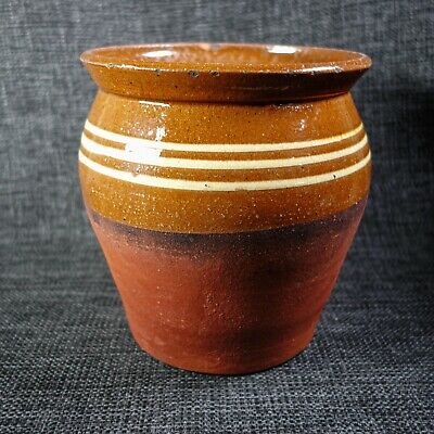 Earthenware Red Slipware Pot - Yorkshire? - 19th C - Country Pottery • 18£