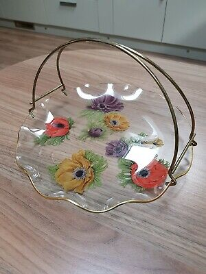 Vintage Chance Glass Anemone Flower Pattern Serving Cake Plate With Handle • 8£