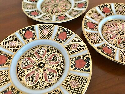 3 X Royal Crown Derby Imari 1128 Coffee Can Saucers 1st Quality • 12.50£