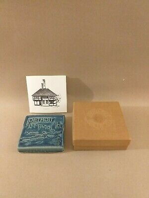 Collectable` Pewabic` Ceramic Tile  - `Detroit`  Skyline Wall Art  • 20£