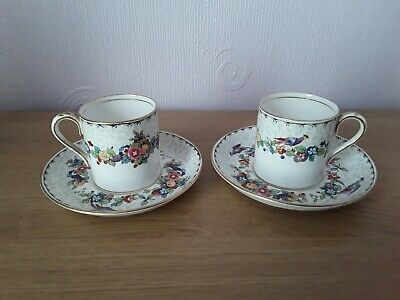 Crown Staffordshire Demi Tass Coffee Cups And Saucers X2 Pheasant 708431 • 10£