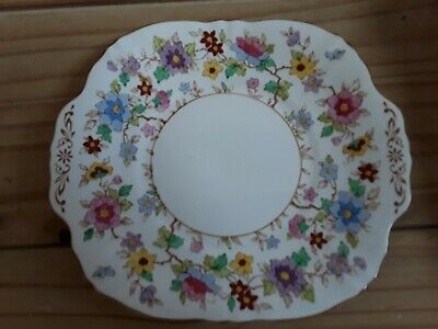 Crown Staffordshire Bone China Floral Cake Plate • 10£