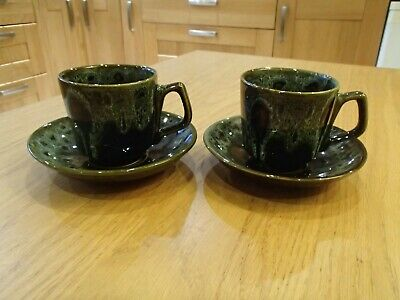 Fosters Pottery Cornwall Green Honeycomb Cups & Saucers X2 • 10£