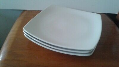 M&S ANDANTE SQUARE Stone  Dinner Plates Marks & Spencer Cream X 3 • 15£