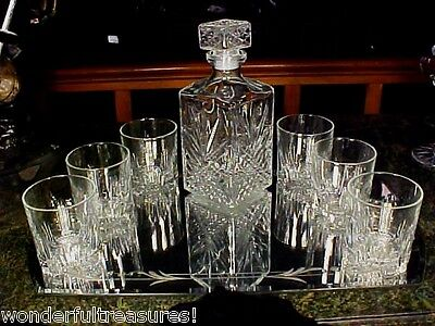 LST1! Glass Whiskey Whisky Decanter Set Tumblers Glasses ITALY UNUSUAL TUMBLERS! • 34.74£
