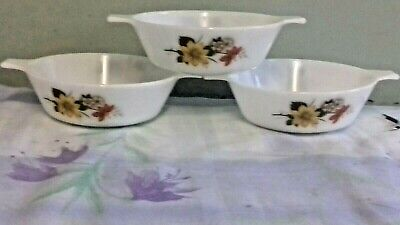 Jaj/pyrex 3 Doubled Lugged/handled Autumn Glory Cereal/soup/dessert Bowls • 9.99£