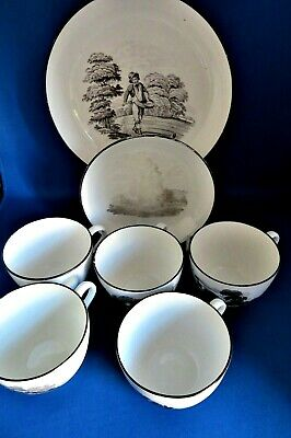 Antique Early 19thc Spode Bat Printed 5 Cups & 2 Saucers C1812-humanity Series • 10£