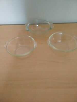 3 X Vintage Small Pyrex Dishes Clear With Handles • 3£