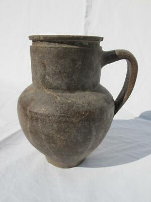 Old Vintage Antique Brown Pottery Jug / Pitcher / Pot Rustic Shabby Chic Style • 18£