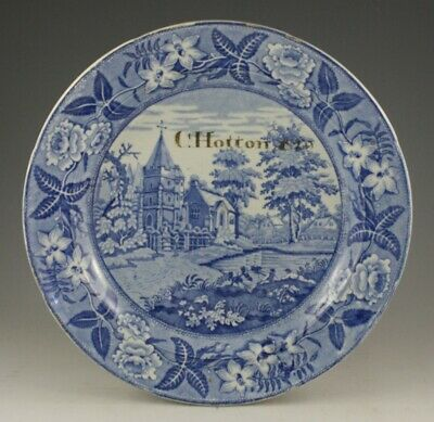 Antique Pottery Pearlware Blue Transfer Named & Dated Country Church Plate 1829 • 9.99£