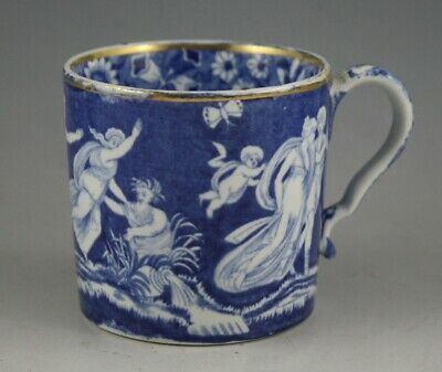 Antique Pottery Pearlware Blue Transfer Spode Love Chase Coffee Can 1815 • 11.50£