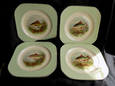 4 X VINTAGE WOODS IVORY WARE SQUARE GREEN & CREAM FISH PLATES • 9.99£