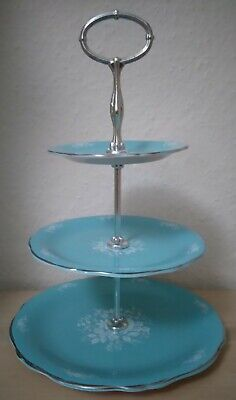 Royal Winton Grimswade England Turquoise White & Silver Three Tier Cake Stand • 9.99£