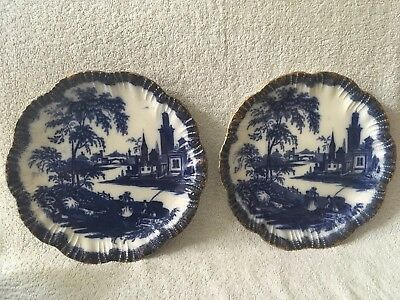 Pair Of Stunning Antique Blue And White Transfer Plates With Landscape Design. • 35£