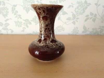 Fosters Pottery Cornwall Brown Honeycomb Glazed Vase Approx 5.25 Inches Tall • 2.99£