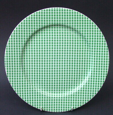 Habitat Ascot Green Gingham Check Large Size Dinner Plates 27.5cm - Look In VGC • 7.95£