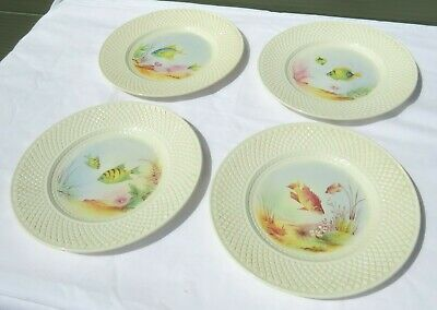 Set Of 4 Copeland Spode Hand-Painted Fish Plates • 95£
