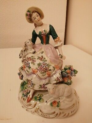 Beautiful German A Sitzendorf Porcelain Figure Of A Woman With Dog  • 135£