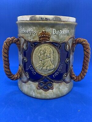 Royal Doulton Large Lord Nelson Stoneware Tyg! Sterling Silver Rim! V Rare! • 575£