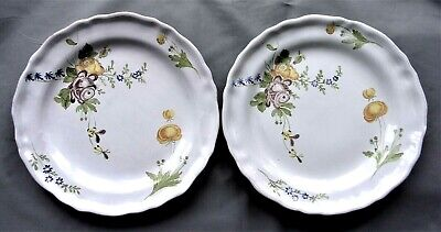 VINTAGE PAIR Of FRENCH FAIENCE HAND PAINTED LARGE PLATES - C M Mark . • 18£