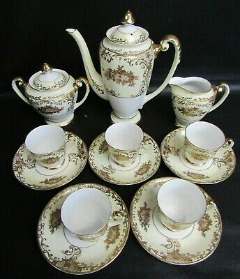 Meito, Noritake Gold Encrusted 13 Piece Hand Painted Coffee Set  • 50£