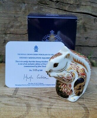Royal Crown Derby 'STONEY MIDDLETON SQUIRREL' Paperweight. Rare Limited Edition. • 195£