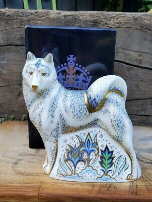 Royal Crown Derby 'HUSKY' Paperweight. Gold Stopper. Excellent Condition. • 179£