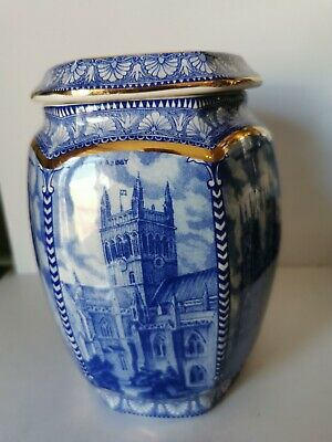 A  Large Hexagonal Ringtons Blue & White Millennium Tea Caddy Made By Wade. • 19.99£