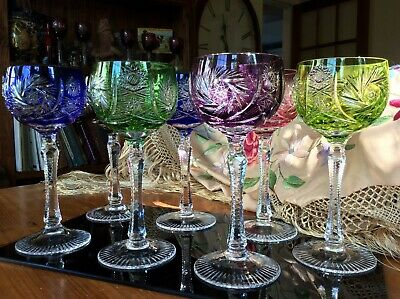Set Seven 1950's Bohemian Crystal Overlay Coloured Cut Hock Wine Glasses • 175£