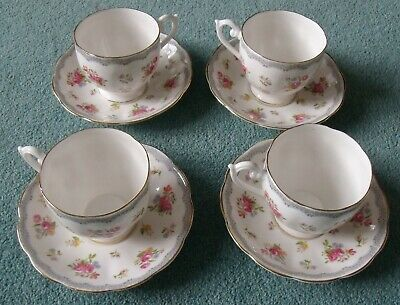 4x Queen Anne Bone China Pink Roses Tea Cups & Saucer • 20£