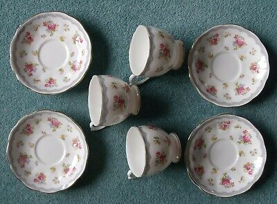 3x Queen Anne Bone China Pink Roses Tea Cups & 4x Saucers • 16£