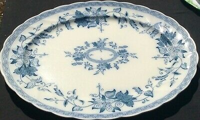 Powell Bishop Stonier Large Victorian Blue White Meat Plate Serving Platter 50cm • 15£