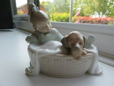 Nao Girl & Dog Figure 'a Basket For Two' Model 1416 - 5 Inch* A Lladro Company • 36£