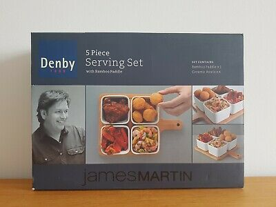 James Martin Denby 5 Piece Serving Set With 4 Ceramic Bowls Bamboo Paddle Boxed • 14.99£