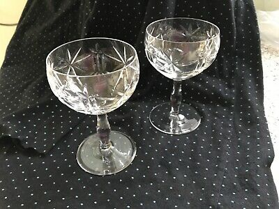 2 X Vintage Lead Crystal  Cocktail / Champagne Coupe • 6.99£