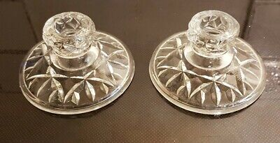 Glass Candle Stick Holders - Pair Of Vintage Candle Holders  • 5£