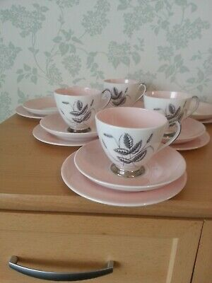 Queen Anne  Harvest Pink  Fine Bone China 6 Side Plates, 6 Saucers, 4 Cups.  • 16.25£